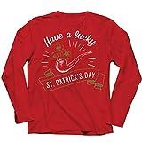 lepni.me Camiseta de Manga Larga para Hombre Feliz Día de San Patricio en Irlanda Suerte Charms Fiesta Regalo (XXL Rojo Multicolor)