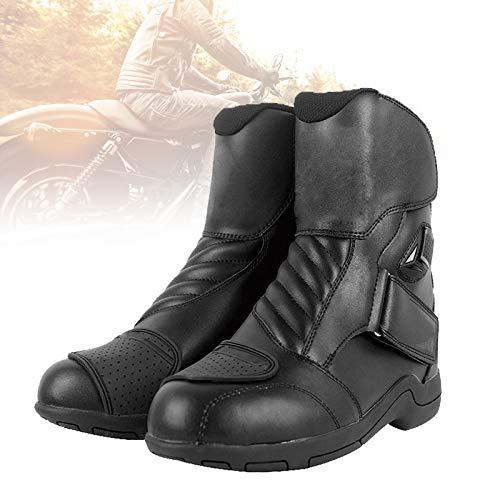 EnweMahi Botas Combate Moto Reflexión Nocturna, Botas Moto Hombre Diseño Plisado Conducción Flexible, Botas Motocicleta Motocross Suela Goma Resistente Desgaste,H