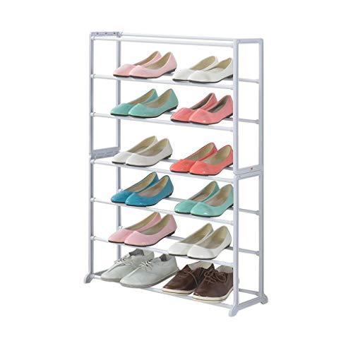 ZZYE Zapatero Shoe Rack Hallway Storage 7 Nivel Organizador Estantes Torre Gabinete Sala de Estar Tubería de Acero Perchero Zapatero