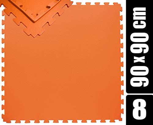 EYEPOWER 360x180 XL Trainingsmatte mit Rand - 8er Set 90x90 Gymnastikmatte - 12mm Puzzle Bodenmatte