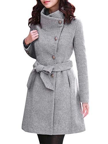 Minetom Damen Winterjacke Wintermantel Lange Jacke mit Gürtel Tasten Frauen Elegant Warm Mantel Wollmantel Trenchcoat Outwear Parka Grau DE 40