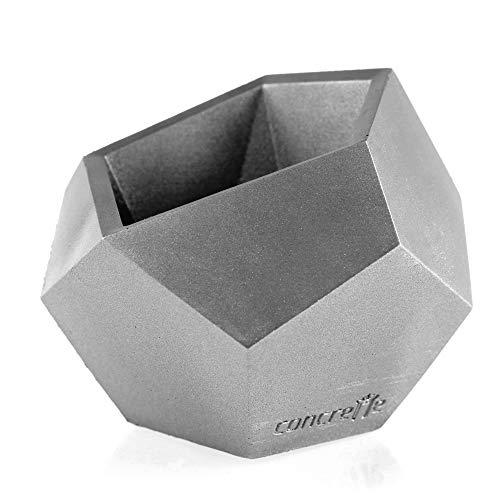 Macetero de cemento, de hormigón, cuadrado, geométrico, 9 cm de diámetro, 12 cm de diámetro, 17 colores, plata, Ø 12 - 21x18x16 cm