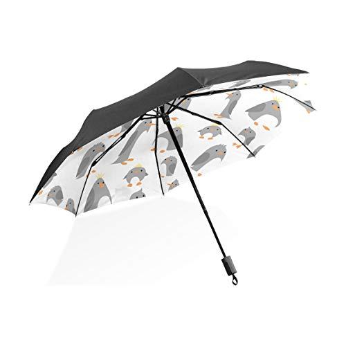 Ombrello da pioggia Viaggio Pinguino carino Famiglia Inverno Animale portatile compatto Ombrello pieghevole Ombrello anti UV Protezione da viaggio all'aperto Donne Ombrello reversibile con manico C