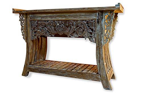 Teak Holz Sideboard Jambi - Massivholz Kommode - 120 cm Teak Anrichte - Massiv Holz Konsole mit Schnitzerei
