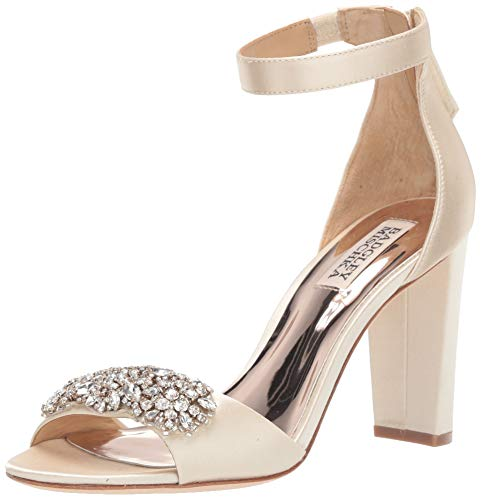Badgley Mischka Women's EDALINE Heeled Sandal, Ivory Satin, 11 M US