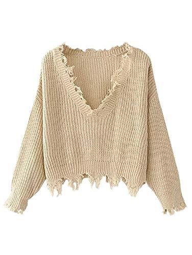 ZAFUL Damen V-Ausschnitt Pullover Langarm Strickpullover Sweatershirt für Herbst und Winter Beige
