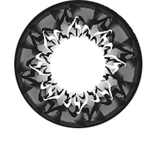 Matlens - Pro Trend Farbige Kontaktlinsen mit Stärke Black schwarz Big Eyes Circle Linsen WPM-500 1 Kontaktlinsenbehälter 1 Pflegemittel 50ml