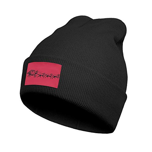 Wells-Fargo-Black-Carriage-Logo- Headwear for Mens Womens Soft Solid Color Knit Hat