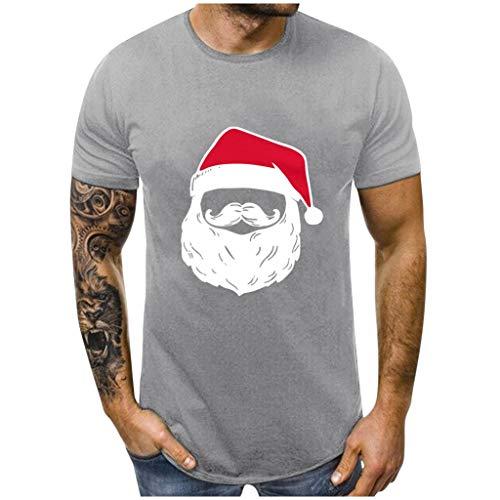 HEETEY - Camiseta unisex de manga corta para hombre y mujer, diseo de Pap Noel en 3D gris XXL