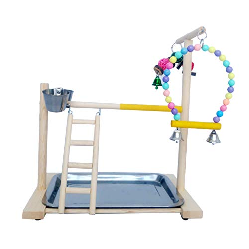 Faguo Wooden Bird Perch Stand Parrot Platform Playground Interactive Toys Cage Decor