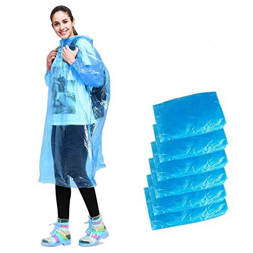 Impermeable desechable de emergencia, con capucha, para camping, senderismo, viajes, picnic, bivouac, senderismo, mochila, 6 unidades, color azul