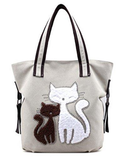 CLOCOLOR Mujer Bolsa de Mano Lona con Estampado de Gatos Bolso de Tela Casual Estilo Elegante Blanco