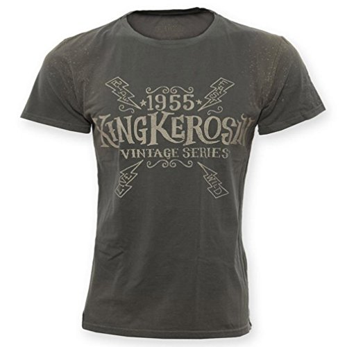 King Kerosin heren biker T-shirt - Hellracer Rockabilly Used Airbrush-shirt met backprint tot 3XL olijfgroen