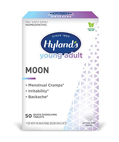 Menstrual Cramp, Irritability and Back Pain Relief, Hyland's Young Adult Moon, 50 Quick Dissolving Tablets