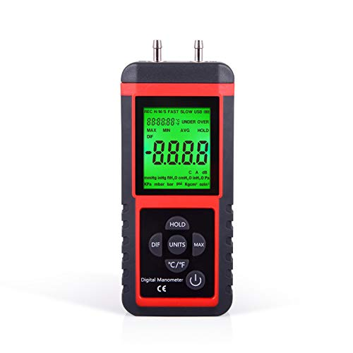 Ehdis Digital Manometer Air Pressure Meter Gas Gauge Reader with 32-bit MCU 24-bit ADC High Accuracy 12 Units Data Save or Hold