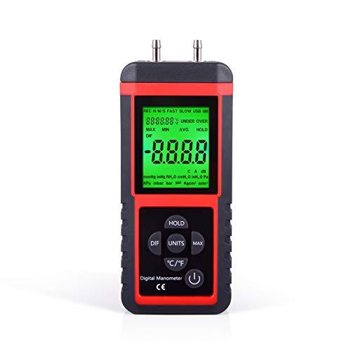 Ehdis Digital Manometer Luftdruck-Messgerät mit 32-Bit MCU 24-BitADC mit hoher Genauigkeit 12 Einheiten Speichern oder Halten
