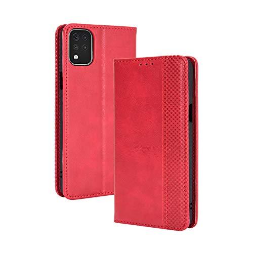 TOPOFU Leder Hülle für LG K42, Premium Flip Wallet Tasche mit Ständer & Kartenfächer, PU/TPU Magnetic Lederhülle Handyhülle Schutzhülle für LG K42 (Rot)