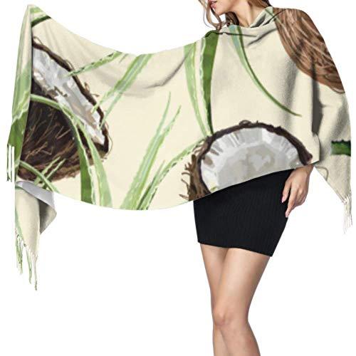 Green Cute Fresh Fashion Plant Aloe Large Wrap Chal Mujeres Bufanda ligera Bufandas coloridas para mujeres 77x27inch / 196x68cm Large Soft Pashmina Extra Warm
