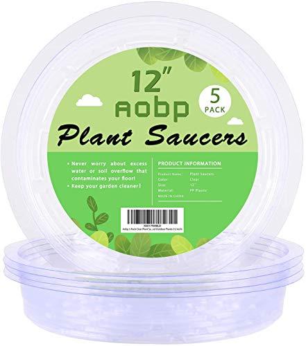 5 Stück Blumentopf Untersetzer Pflanzen-Untersetzer aus Kunststoff Blumentopf Untersetzer Anthrazit Pflanzen Untertopf für Innen und Außenpflanzen aus Dickem und Starkem Kunststoff Farblos (12 Zoll)