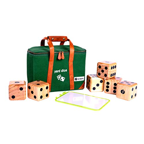 tenalach Yard Dice Game Set | Includes 6 Handcrafted Solid Pine Wooden Dice, Scorecard and Marker, and Premium Carrying Case