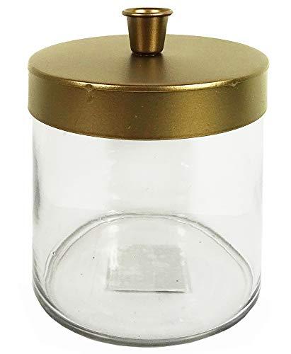 zeitzone Kerzenhalter Glas mit Deckel Gold Kerzenleuchter zum Befüllen Kerzenständer