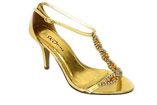 Sandalias de tacón medio para mujer, con diamantes de imitación, para boda,...