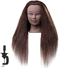 FABA Mannequin Head 100% Real Hair Training Head Cosmetology Doll Head with 20-22 inch Hair for Practice Hairstyle with Free Clamp 4# Color (16 inch)