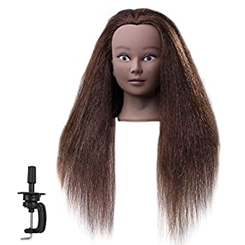 FABA Mannequin Head 100% Real Hair Training Head Cosmetology Doll Head with 20-22 inch Hair for Practice Hairstyle with Free Clamp 4# Color