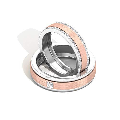 Anillo de compromiso redondo de 0,80 quilates con diamante certificado para parejas, oro antiguo de dos tonos grabado, anillos de boda vintage de eternidad, oro de 14 quilates, Metal, Diamond,