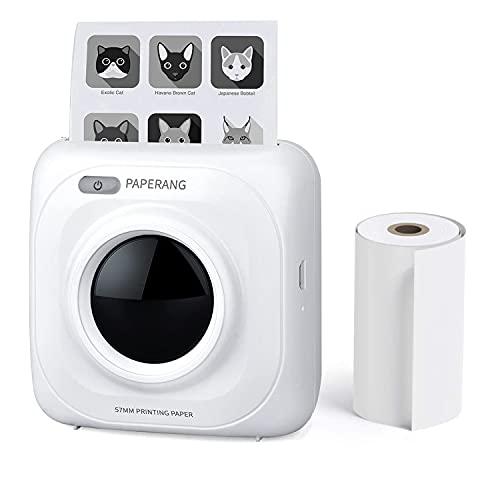 PAPERANG Mini Handydrucker Fotodrucker BT Thermodrucker Bildetikett Memo Drucker, Bluetooth 4.0 Telefonverbindung Drahtloser Thermodrucker Kompatibel mit Android iOS (P1)