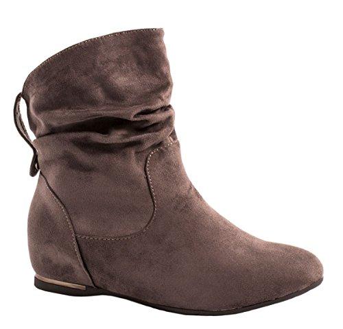 Elara Damen Stiefeletten Boots Keilabsatz Chunkyrayan AB02-25 Grey-39