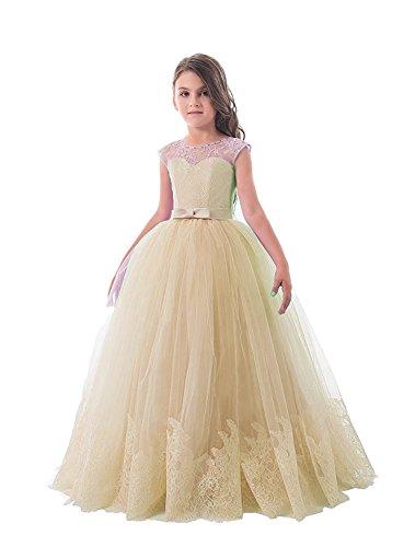 Carnivalprom Mädchen Hochzeit Fest Blumenmädchen Kleider Bodenlanges Kinderkleid Kommunionkleid Ballkleid Partyskleid(Champagner,5-6 Jahre)