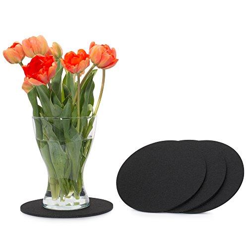 FILU Filzuntersetzer rund 20cm 4er Pack (Farbe wählbar) schwarz - Untersetzer aus Filz für Tisch und Bar als Glasuntersetzer/Getränkeuntersetzer für Glas und Gläser