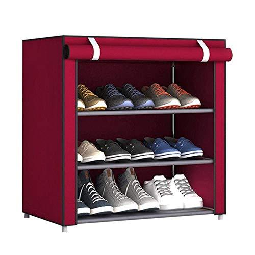 XKMY Estante de almacenamiento de zapatos multicapa no tejido para zapatos, balcón, pasillo, hogar, gran almacenamiento, extraíble, a prueba de polvo, a prueba de humedad, zapatero simple (color rojo)