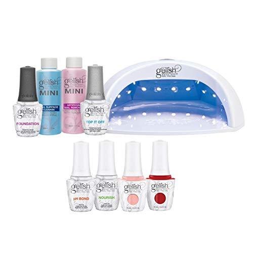gelish nail kits Gelish Pro Kit Bundle with Salon 18G LED Professional Gel Polish Curing Light Lamp, Basix Kit, Soak Off Remover, and 2 Nail Polishes, 15 mL