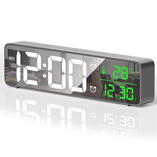 HOTERB Digitaler Wecker, Wecker Digital Alarm Clock mit 40 Klingeltöne Temperatur,Große Digitaluhr Digital Clock Digitaler Spiegel Wecker,Tischuhr Digital Digitale Wecker für Zuhause,Schlafzimmer