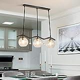 QUETAZHI lamparas Lámpara Colgante de Hierro Industrial, Creativo Bola de Cristal Pantalla E27 Lámpara Colgante de Cristal Decorativo Loft for Comedor Cocina 3 Llamas QU-218