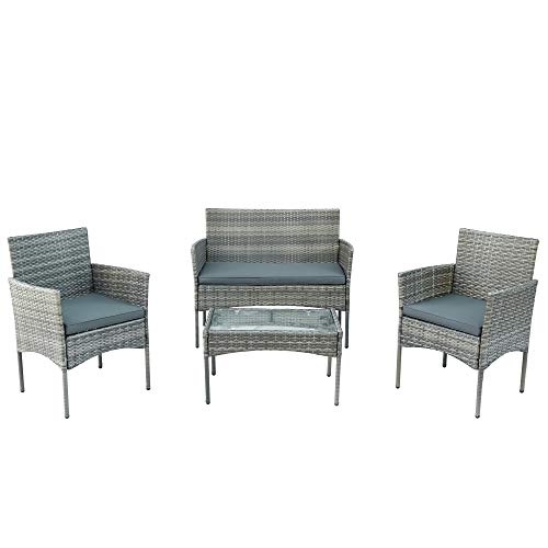LeKu Grupo de asientos de polirratán, muebles de jardín, muebles de balcón, juego para 4 personas, con sofá, mesa, cojines de asiento, para jardín, balcón, terraza, color gris