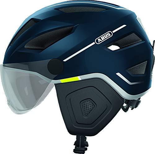 ABUS Pedelec 2.0 ACE Stadthelm - Hochwertiger E-Bike Helm mit Rücklicht und Visier für den Stadtverkehr - für Damen und Herren - 81931 - Blau, Größe L