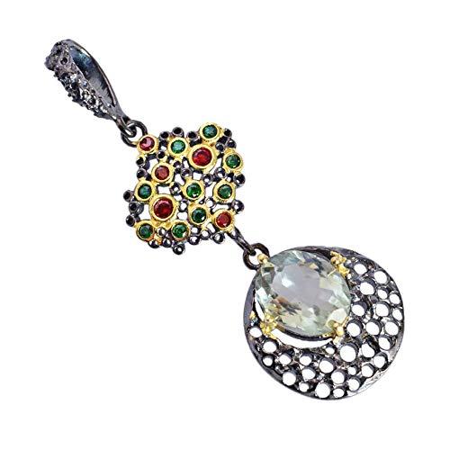 Green Amethyst 925 Sterling Silver Black Rhodium Necklace Pendant Wedding Jewelry for Women & Girls