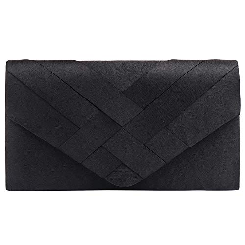Classic Clutch Purse Evening Bag for Womens, Polyester Clutch Purse for Wedding Handbag With Chain Strap (P Black)