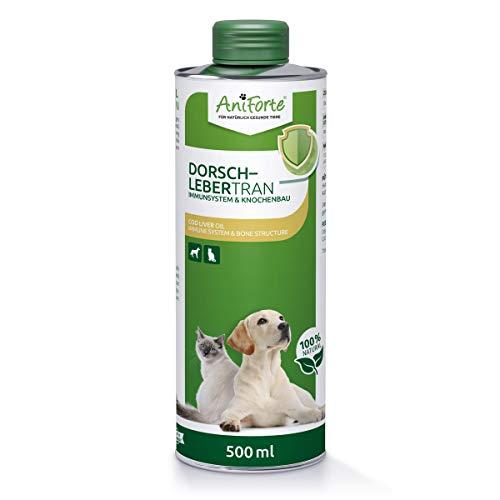 AniForte Lebertran für Hunde & Katzen 500ml - Natürliche Quelle, Dorschlebertran zum Barfen, Barföl mit Vitaminen & Omega-3 Fettsäuren, Unterstützung Knochenaufbau, Abwehrkräfte & Immunsystem