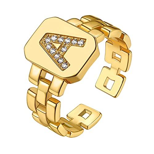 GoldChic - Anillo para hombre con letra inicial A-Z de acero inoxidable, anillo con el alfabeto para niño, cadena de dedo, chapado en oro de 18 quilates, regalo para marido, padre, pareja o boda,