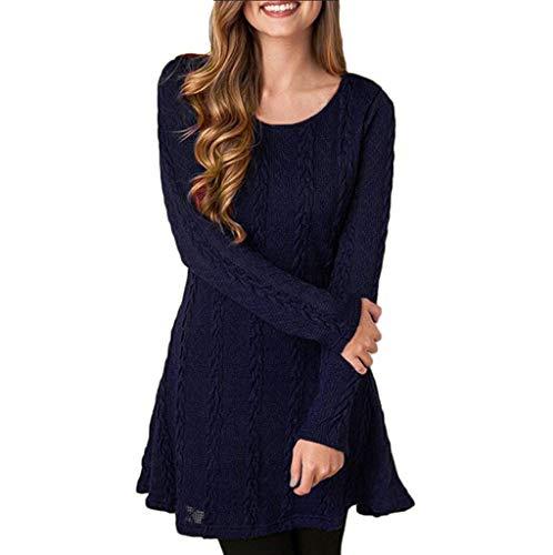 BOLANQ Art- und Weisefrauen festes langes Hülsen-Normallack-reizvolles Strickjacke-Kleid