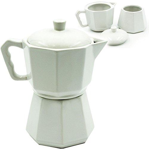 alles-meine.de GmbH 3 TLG. Set _ Zuckerdose & Milchkännchen - mit Deckel -  Espressokanne / Teekanne - Weiss  - aus Porzellan / Keramik - Espressokocher / Kaffeedose - Mokkados..