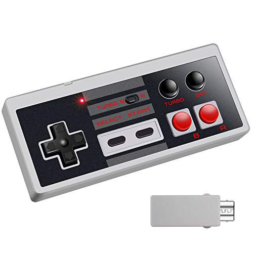 Ryhpez Wireless Controller for NES Classic - Rechargeable Gamapad with Receiver Turbo Switch, Compatible for Nintendo NES Classic Mini Edition Gaming System Joystick