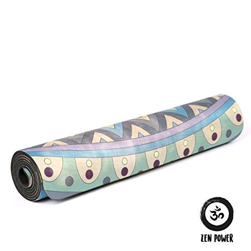 Zen Power Yogamatte aus Naturkautschuk - Indra - 183 x 61 x 0,5 cm 2-in-1 Gymnastikmatte - für Yoga, Pilates, Stretching, Gymnastik - mit Microfleece-Auflage - Design: Blau/Grün mit Blume