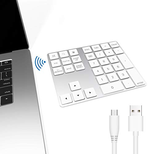 Ziffernblock Bluetooth, Bawanfa 34-Tasten Nummernblock Bluetooth Wireless Numpad mit Multi-Funktion für Computer Laptop Tablet Smartphone iPad Kompatibel mit MacBook Windows Surface Pro