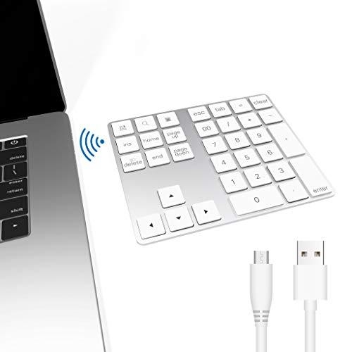 Teclado numérico Bluetooth, Bawanfa Teclado Numérico Inalámbrico Recargable 34 Teclas Entrada Datos Teclado Numérico Compatible con Windows/Android/iOS/OS