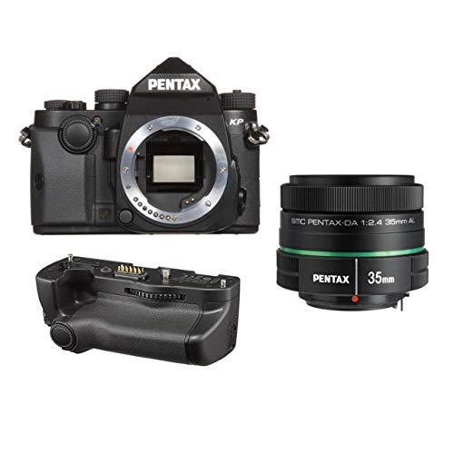 Pentax KP 24.32 Ultra-Compact Weatherproof DSLR Camera (Black) with Pentax 35mm DA L f/2.4 AL Lens and Pentax D-BG7...